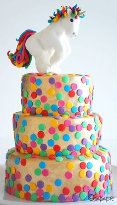 Love the dots all over the cake!