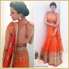 Kajal Agarwal in a gottapati embroidered lehenga by Anita Dongre.