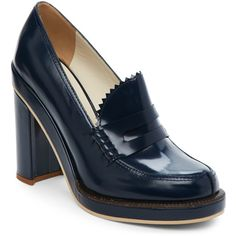 Jil Sander Navy Navy Chunky Penny Loafer Pumps ($130) ❤ liked on Polyvore featuring shoes, pumps, blue, blue platform pumps, navy shoes, blue pumps, low heel pumps and blue low heel pumps