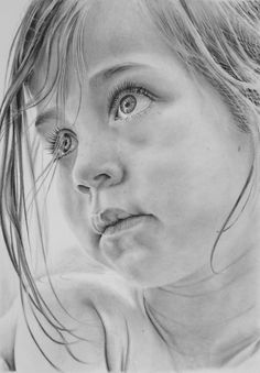 Graphite pencil drawing of a young girl on A4 Winsor & Newton Extra Smooth Surface Bristol Board. Equipment:  Various pencils from 5H to 8B, (Faber Castell, Mars Lumograph and some simply ...