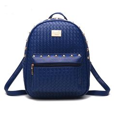 162945579e0c 2016 New Knitting Small Backpacks Women Rivet PU Leather Backpacks for Teenage  Girls Travel preppy School Bags Fashion Mochila