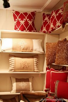 Pillow pretties.  I'd love to visit this lady's shop!