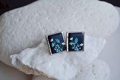 Navy blue earring dark blue earrings, polymer clay jewelry by LandOfJewellery