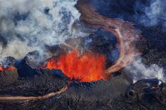 Aerial view of the lava fountains and massive plumes near the Bardarbunga…