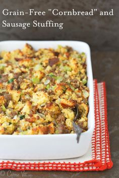 Cornbread and Sausage Stuffing - Homemade grain-free Paleo 'cornbread' sauteed onions celery sausage chicken stock eggs and herbs make for a nutrient dense and healthy addition to the dinner table. Paleo Stuffing, Stuffing Recipes, Sausage Stuffing, Gluten Free Stuffing, Low Carb Stuffing, Veggie Sausage, Gluten Free Thanksgiving, Thanksgiving Side Dishes, Thanksgiving Recipes