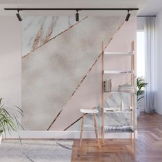 Spliced mixed rose gold marble Wall Mural by marbleco Bedroom Wall Designs, Accent Wall Bedroom, Living Room Decor, Bedroom Decor, Wall Decor, Rose Gold Marble, Marble Wall, My New Room, Girl Room