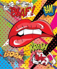 'POW, BOOM, KRASH!', Red Lips, pop art, illustration.
