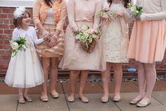 Peach and Ivory Bouquets for bridesmaids and flower girls Karma Flowers + Trunk Vintage Rentals