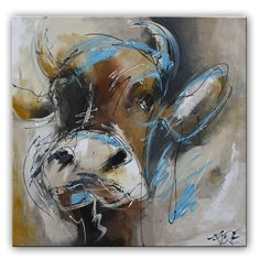 Deze koe is lekker nieuwsgierig.  Het schilderij is door onze kunstenaars oa met paletmes geschilderd. Hierdoor is de verf dik opgezet en krijgen het schilderij meer karakter. De lijnen zijn trefzeker neergezet. Met dit schilderij heb je een echte eyeatcher voor je muur.