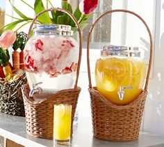 Woven Basket Drink Dispenser Stand | Pottery Barn