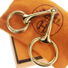 UNUSED Authentic HERMES Horse Bit Scarf Ring Gold-Tone Accessories France 60G112 #HERMES #ScarfRing