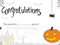 Free printable halloween certificates halloween cards jack o free printable halloween reward certificates all about party bags yelopaper Choice Image