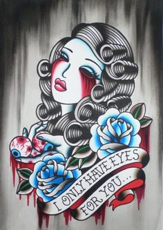 Only eyes for you, traditional style tattoo flash, womans face drawing, roses