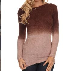 Cocoa Ombré Sweater Super soft, feminine form fitting sweater.  Manufacturer recommends ordering a size up.  XL definitely fits like a large, possibly even a large medium.  Material is so soft, sad it did not fit.  There is an area on the shoulder (see picture) that has minor discoloration.  My daughter actually had to point out it out to me so it's not incredibly obvious.  Never worn due to small sizing Sweaters Crew & Scoop Necks