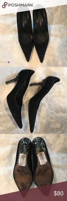 """Donald J. Pliner black, suede heels Donald J. Pliner black, suede, 3.5"""" heels. Heels have black and gold metallic background with some cabochon stone detail. Worn only a few times. Donald J. Pliner Shoes Heels"""