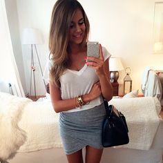Oh that grey wrap skirt.
