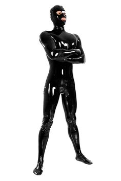 Image result for black latex suit