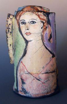 Barbara Harnack  Slab constructed vessel of stoneware clay,    under glazes and over glazed, Raku fired