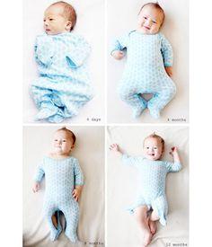 Newborn photo ideas- One Onsie, One Year. Cute idea!
