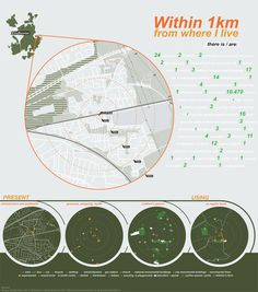 Infographic Within 1 km by Sonja Kuijpers, via Behance