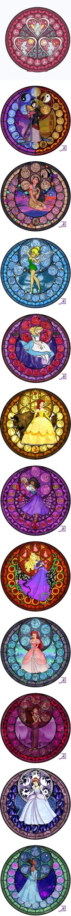 Disney princess stained glass by shygirl1229 ❤ liked on Polyvore
