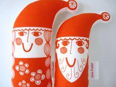 Pair of Scandinavian Santa and Mrs Christmas plush toys  - screen printed fabric Jane Foster. 42.00, via Etsy.
