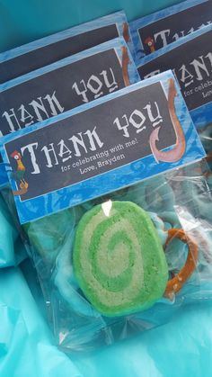 Moana party favors, Heart of Te Fiti cookies
