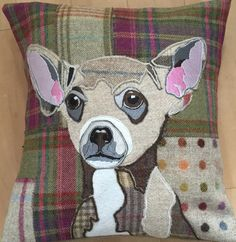 Delightful Chihuahua portrait pillow.