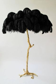 Exquisite Hollywood Regency Sculptural Ostrich Feather Palm Tree Floor Lamp 3