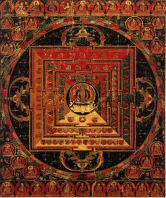 Mandala of Vairochana Buddha - (Abhisambodhi Tantra) (HimalayanArt) Tibetan Mandala, Tibetan Buddhism, Spiritual Images, Indian Language, True Art, Modern Artists, Sanskrit, Ancient Aliens, Tantra