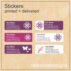 Labels available for use on catalogues, envelopes or packages, by Red Rockets Design