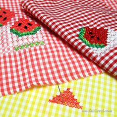 Watermelon gingham chicken scratch embroidery