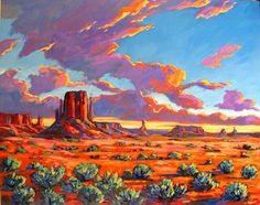 Monument Valley Sunset Abstract Huge Contemporary by pattyabaker, $1200.00