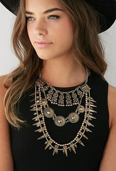 Engraved Bib Necklace from Forever Saved to Epic Wishlist. Shop more products from Forever 21 on Wanelo. Big Fashion, Punk Fashion, Plus Size Fashion, Style Ethnique, Coin Necklace, Pendant Necklace, Boho Outfits, Women Jewelry, My Style