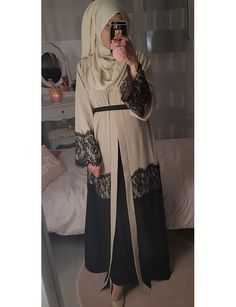 Abaya kimono LACE Islamic Fashion, Muslim Fashion, Iranian Women Fashion, Modest Wear, Modest Outfits, Abaya Fashion, Fashion Dresses, Modele Hijab, Mode Abaya