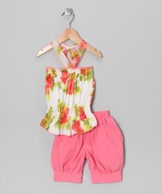 Take a look at the Lele for Kids Coral Floral Halter Top & Capri Pants - Toddler & Girls on #zulily today!