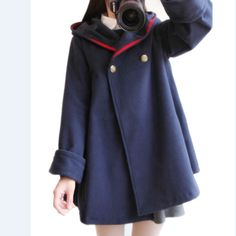 "Japanese students woolen coat hooded cloak   Coupon code ""cutekawaii"" for 10% off"