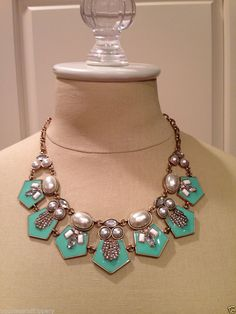 Beautiful mint pearl and crystal enamel inspired deco statement choker necklace. Brand New. US Seller.
