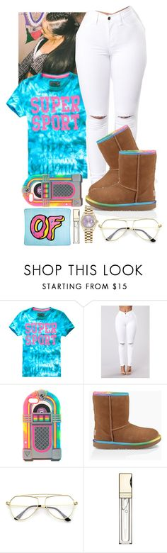 """Rainbow "" by flawlessgirlty ❤ liked on Polyvore featuring UGG, ODD FUTURE, Clarins and Rolex"