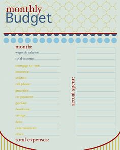 printable monthly expense worksheet
