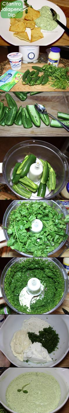 Cilantro Jalapeno Dip  This will be perfect when Gma's garden is full of ready jalapenos!!