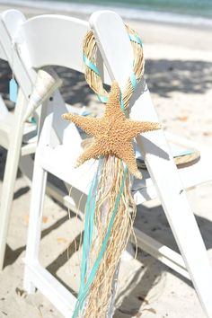 Simple and adorable, perfect for a beach wedding. San Diego Beach Wedding Venue, We can add your ribbon in the color of your choice to our chairs, beach wedding ideas Wedding Venues Beach, Beach Ceremony, Beach Wedding Decorations, Our Wedding, Destination Wedding, Dream Wedding, Sea Wedding Theme, Beach Weddings, Romantic Weddings