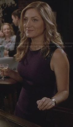 Maura's purple dress with leather shoulders on Rizzoli and Isles.  Outfit Details: http://wornontv.net/28940/ #RizzoliandIsles