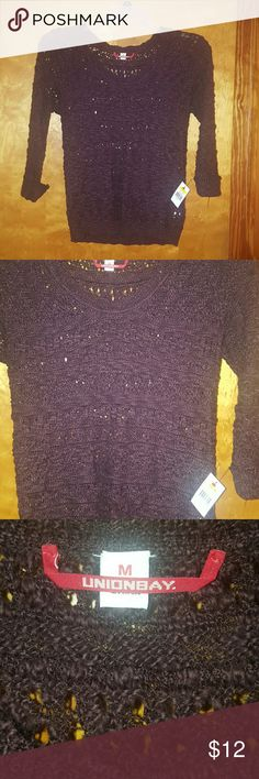 NWT Union Bay Wine Colored Sweater-Sz. M Adorable NWT Union Bay Wine Colored Sweater.  Size M.  Will look great with jeans, skirt or dress pants.  Please contact me with any questions and I will respond promptly. Thank you! UNIONBAY Sweaters Crew & Scoop Necks