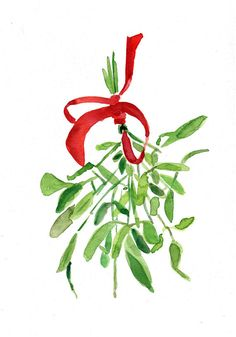 Mistletoe Art print of original watercolor by TheJoyofColor