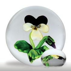 selman Paperweight | Superb, rare antique Clichy pansy miniature paperweight.