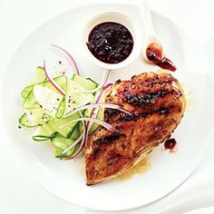 Quick and Easy Chicken Recipes: Raspberry-Chipotle Chicken Breasts with Cucumber Salad   CookingLight.com