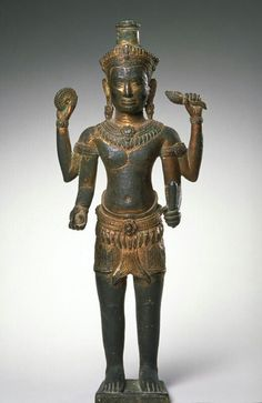 The Hindu deity Vishnu-Vasudeva-Narayana Place of Origin: Cambodia, former kingdom of Angkor Date: 1175-1225 Materials: Bronze with traces of gilding and gemstones Style or Ware: Bayon