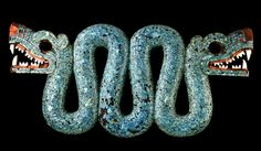 Double-headed serpent turquoise mosaic Mexico, century AD An icon of Mexica (Aztec) art, this striking object was probably worn on ceremonial occasions as a pectoral (an ornament worn on the chest). Feathered Serpent, Aztecas Art, Aztec Culture, Ancient Jewelry, Mexican Art, Inka, British Museum, 16th Century, Oeuvre D'art