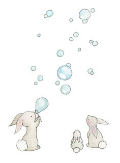 Nursery Wall Art, Bunnies and Bubbles, Rabbit Picture, Kid's Bedroom Art, Pastel…